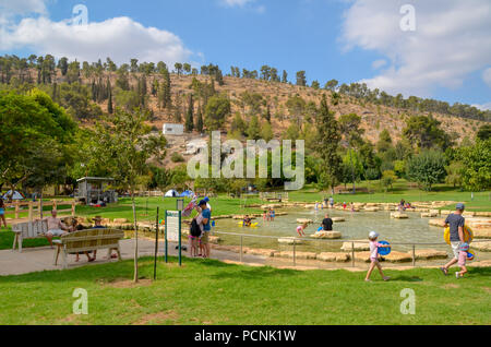 Israel, Jezreel Valley, Maayan Harod the Spring of Harod National Park. The spring at Harod is believed to be the 'well of Harod' at which Gideon sele - Stock Photo