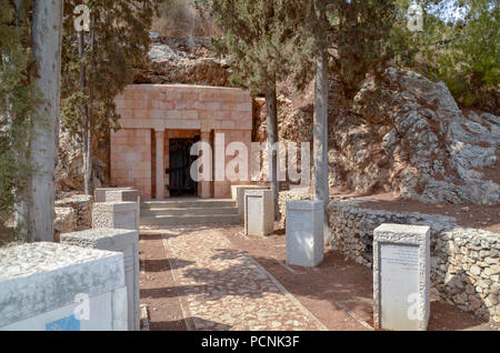 Israel, Jezreel Valley, Maayan Harod the Spring of Harod National Park. The tombs of Yehoshua and Olga Hankin - Stock Photo