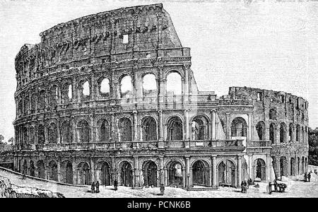 The Colosseum or Coliseum, also known as the Flavian Amphitheatre, is an oval amphitheatre in the centre of the city of Rome, Italy., digital improved reproduction of an historical image from the year 1885