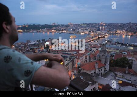 Golden Horn view from Galata Tower at dusk - Stock Photo