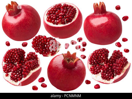 Pomegranate whole and pieces set. Isolated on white background with clipping path. Package design elements - Stock Photo