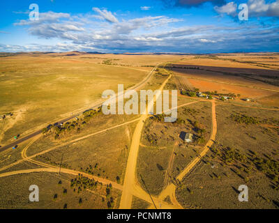 Aerial view of vast plains of South Australia at sunset - Stock Photo
