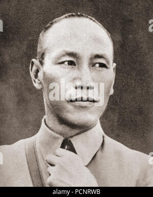 Chiang Kai-shek, 1887 –1975, aka Chiang Chieh-shih, Jiang Jieshi and Chiang Chungcheng.  Political and military leader of the Republic of China.  From These Tremendous Years, published 1938. - Stock Photo