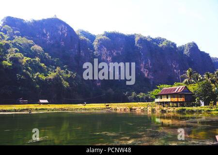 Rural atmosphere in the tourist village of Rammang-rammang, Maros Regency - Stock Photo