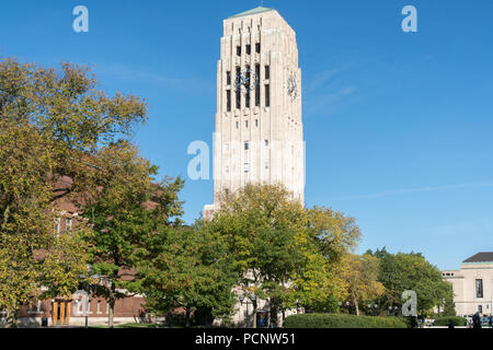 ANN ARBOR, MI/USA - OCTOBER 20, 2017: Burton Memorial Tower on the campus of the University of Michigan. - Stock Photo