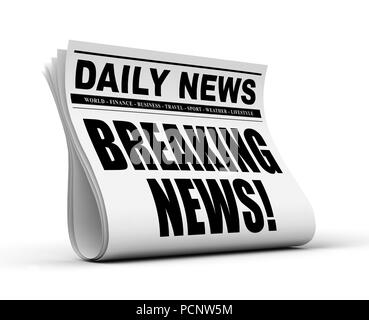 newspaper concept 3d illustration isolated on white background - Stock Photo