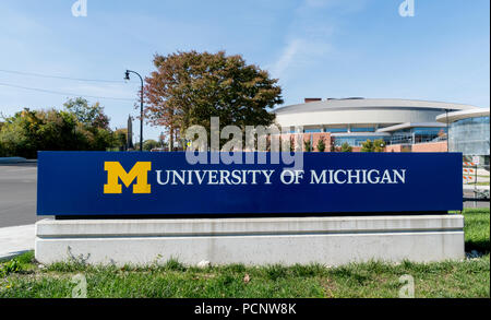 ANN ARBOR, MI/USA - OCTOBER 20, 2017: Entrance sign to the campus of the University of Michigan. - Stock Photo