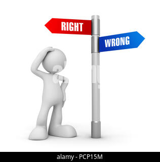 right wrong concept 3d illustration isolated on white background - Stock Photo