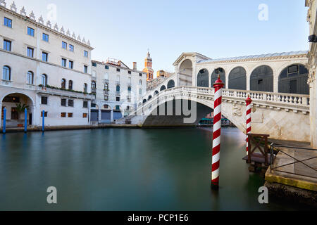 Rialto bridge and The Grand Canal in Venice, nobody in the morning, Italy - Stock Photo