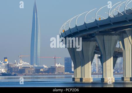 St. Petersburg, Russia - August 01, 2018: Skyscraper Lakhta Center and Western High-Speed Diameter highway - Stock Photo