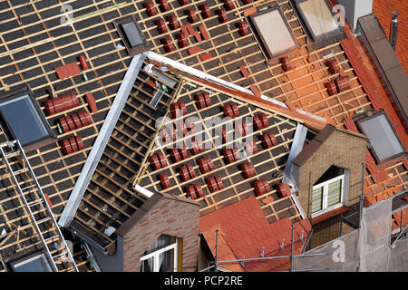 roof cover construction site in city of Klodzko (former glatz), lower silesia, poland, europe - Stock Photo
