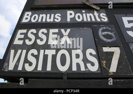 Bonus points displayed on the scoreboard ahead of Essex CCC vs Sussex CCC, Specsavers County Championship Division 2 Cricket at the Essex County Groun - Stock Photo