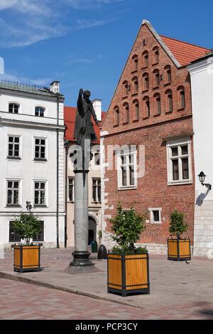 monument Piotr Skarga in old town krakow, lesser poland, poland, europe - Stock Photo