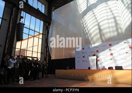 September 21, 2012 - Saint-Denis, France: French filmmaker Luc Besson unveils his 'cinema city' (Cite du Cinema) on the edge of Paris. The 170-million-euros project is the largest film studio facility ever built in France, which earned it the nickname 'Hollywood on Seine'. The former art deco power station compound houses nine state-of-the-art film sets, 20,000sq metres of office, and several carpentry, model-making, and costume workshops. FRANCE OUT - Stock Photo