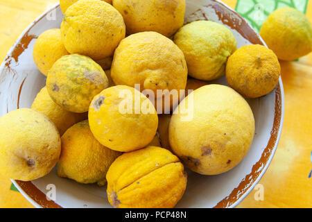 Fresh Lemons in a rustic bowl - Stock Photo