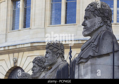 The Emperor's Heads outside the Sheldonian Theatre in Oxford - Stock Photo