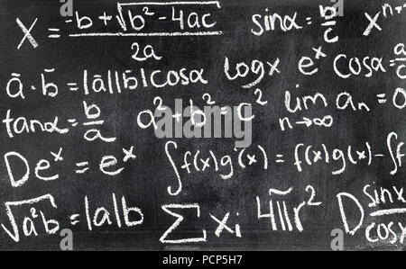 Handwritten mathematical formulas on blackboard written with chalk. Chalkboard full of theory and calculations. Math equation background. - Stock Photo
