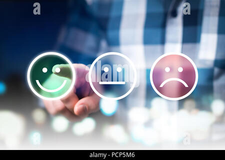 Business man giving rating and review with happy, neutral or sad face icons. Customer satisfaction and service quality survey. - Stock Photo
