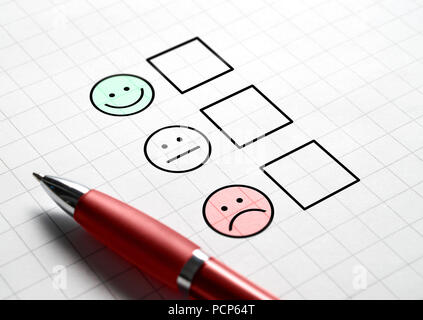 Customer satisfaction survey and questionnaire concept. Giving feedback with multiple choice form. Pen, paper and emotion smiley face icons. - Stock Photo
