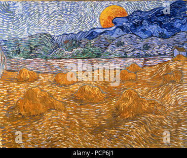 Landscape with wheat sheaves and rising moon, 1889. - Stock Photo