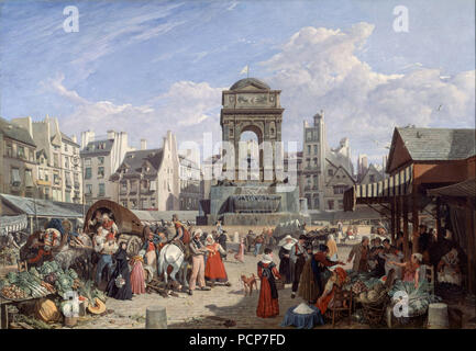 Le Marché et la fontaine des Innocents, 1822. - Stock Photo