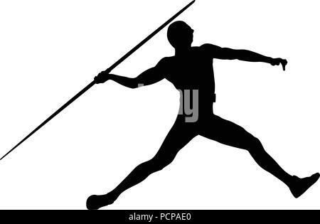 javelin throw man athlete in athletics black silhouette - Stock Photo