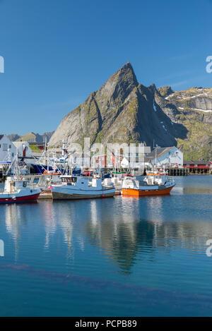 Fishing boats in Reine Harbour, Reine, Lofoten Islands, Norway - Stock Photo