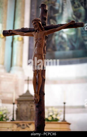 Christ statue in the old church of our lady of Fatima in his natural light; shallow DOF - Stock Photo
