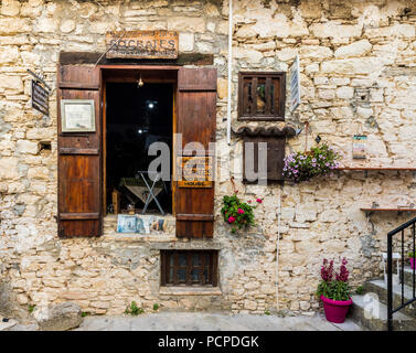 Omodos, Cyprus. May 2018. A view of a local house known as Socrates House, which is now a museum in the traditional village of Omodos in Cyprus. - Stock Photo