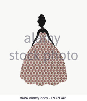 Beautiful lady in a lush dress with a pattern - Stock Photo