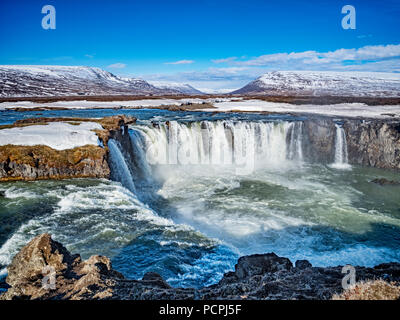 Godafoss, known as Waterfall of the Gods, a major tourist attraction in Iceland. - Stock Photo