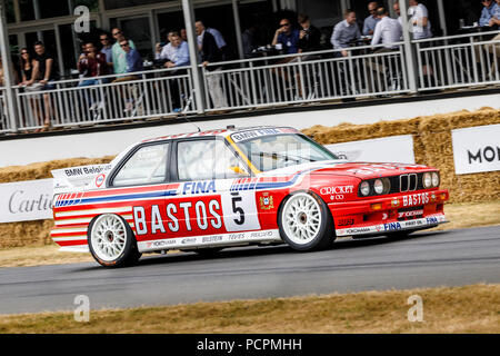 1991 BMW M3 E30 WTCC entrant with driver Steve Soper at the 2018 Goodwood Festival of Speed, Sussex, UK. - Stock Photo