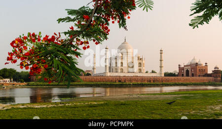 The Taj Mahal Mausoleum in Agra, India, seen from the other bank of the Yamuna river, near the Garden of the Moon, at sunset. - Stock Photo