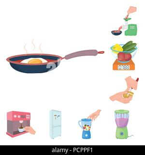 Cooking food cartoon icons in set collection for design. Kitchen, equipment and tools vector symbol stock  illustration. - Stock Photo