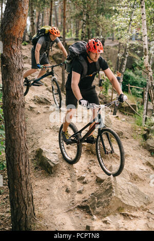 extreme young trial bikers riding downhill on back wheels at beautiful forest - Stock Photo