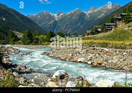 Bed of the mountain river Lonza near the hamlet Ried, Blatten, Loetschental Valley, Switzerland - Stock Photo