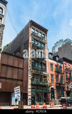 Manhattan,New York City,USA - July 1, 2018 : Houses in Bond Street in Noho - Stock Photo