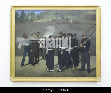 Painting 'The Execution of Emperor Maximilian' by French Impressionist painter Édouard Manet (1868-1869) on display in the Kunsthalle Mannheim in Mannheim, Baden-Württemberg, Germany. - Stock Photo