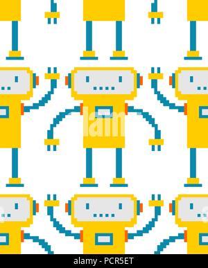 Robot pixel art pattern seamless. 8 bit cyborg background. Digital technology ornament toy Vector illustration - Stock Photo