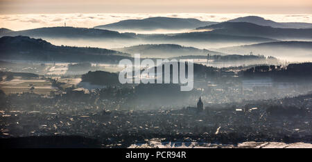 View from Scharfenberg on Brilon with the Sauerland hills in the background, Provost's Church St.Petrus and Andreas, Brilon, Sauerland, Soester Börde, North Rhine-Westphalia, Germany - Stock Photo