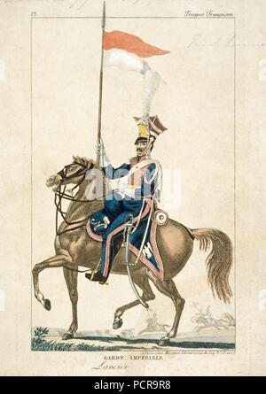 French lancer of the Imperial Guard, Napoleonic Wars, c1815. Engraving produced in Paris. In 1815 at the Battle of Waterloo this unit formed part of General Lefebvre-Desnouettes Guard Light Cavalry Division, which took part in Marshal Ney's massed cavalry attack on the British lines. They had also been engaged at the Battle of Quatre Bras on 16 June as scouts ahead of Marshal Ney's main body. - Stock Photo