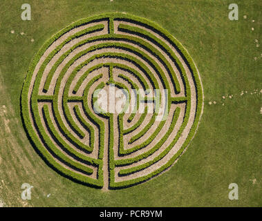 Labyrinth, hedge maze, maze, friends and supporters of the educational institution St. Bonifatius Elkeringhausen e. V., Winterberg, Hochsauerland, North Rhine-Westphalia, Germany - Stock Photo