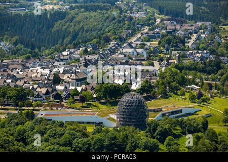 View of Winterberg from the east with the Oversum Vital Ressort, Hotel, Winterberg, Hochsauerland, North Rhine-Westphalia, Germany - Stock Photo