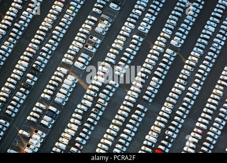 New car parking, VW, Porsche, Audi, Helf Automobile Logistics GmbH, Stauderstraße Essen, car dump, new cars dump, sales of cars, giant parking lot for new cars, Essen, Ruhr area, North Rhine-Westphalia, Germany - Stock Photo