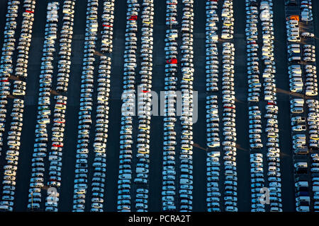 New car parking lot, VW, Porsche, Audi, Helf Automobile Logistics GmbH, Stauderstraße Essen, car dump, new cars dump, sales of cars, giant parking lot for new cars, Essen, Ruhr area, North Rhine-Westphalia, Germany - Stock Photo