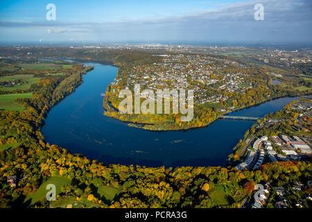 Ruhr bend near Kupferdreh with view over the Baldeneysee on Heisingen, Essen, Ruhr area, North Rhine-Westphalia, Germany - Stock Photo