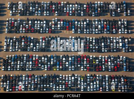 Import vehicle new cars stock in Logport Duisburg Rheinhausen, new cars dump, car parking lot, Duisburg, Ruhr area, North Rhine-Westphalia, Germany - Stock Photo