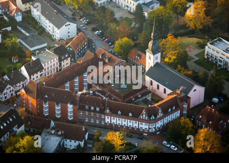St.Peter Church with St.Josef retirement home, autumn mood, morning mood, Essen-Kettwig, Essen, Ruhr area, North Rhine-Westphalia, Germany - Stock Photo
