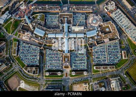 Shopping center CentrO Oberhausen, shopping mall, largest shopping and leisure center in Europe and at the same time Germany's largest shopping center, vertical shot, Oberhausen, Ruhr area, North Rhine-Westphalia, Germany - Stock Photo