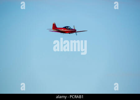 red Falco plane, wood construction, D-EKMK, General Aviation, Echo-Class passenger plane, Sport aircraft over Hamm, Hamm, Ruhr area, North Rhine-Westphalia, Germany - Stock Photo